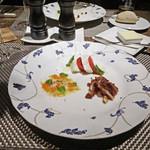 BANQUE - 前菜:右下は鴨ムネ肉の生ハム