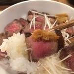 肉と葡萄酒 跳牛 - 牛たん丼 1,200円 2015.12 この味噌も良い感じです。