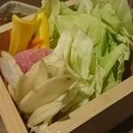 しか枡屋 - 本日のお野菜達 朝採り野菜を当店自慢の肉味噌でどうぞ。