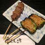串しん坊 - かしら(100円)肉詰めピーマンチーズ(190円)
