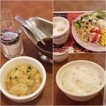 ステーキハウス ブロンコビリー - スープ、サラダバーとドリンクバー。ご飯は大盛り^^;