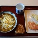 金比羅製麺 - 3種のチーズカレーうどん&とり天・紅生姜天・縁むすび