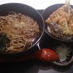 そば処 善左衛門 - 料理写真:ランチメニュー(キスの天ぷらとお蕎麦)