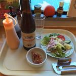 エッグチキン - 151219 セットのサラダとビール