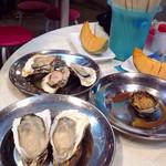 うろこ亭 - 2014.11月 手前生牡蠣、奥ひだり焼き牡蠣、右焼きアワビ 季節外れのメロンヾ(@⌒ー⌒@)ノ笑