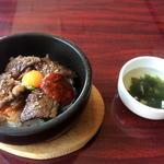 チェゴヤ - 石焼きカルビ丼ビビンバ ベジタブルスープ付き(1800円)