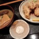 45663542 - 若鶏の治部煮と鶏の唐揚げ