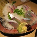 寿司ろばた 八條 - 関アジ、関サバの盛り合わせ
