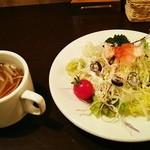 洋食 松キッチン - 洋食 松キッチン@長岡 サラダ・スープセット