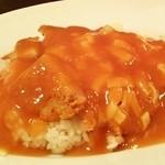 洋食 松キッチン - 洋食 松キッチン@長岡 チーズ洋風カツ丼・ファミリーソースのアップ