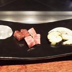 45675247 - お肉と焼き野菜 葉山葵の醤油漬けが1番好みでした