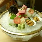 懐石料理 桝田 - お造り(雲丹、トロ、帆立)