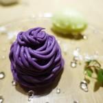 タストゥー - 紫さつまいものモンブラン、青りんごのソルベ