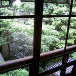 4571152 - 部屋のレトロなガラス戸越しに見る中庭