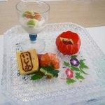 ホテルいじか荘 - 料理写真:先付け(湯葉雲丹のせ、無花果の生ハム巻き、山桃ワイン煮など)