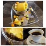 ラヴェンナ - ◆デザート・・マンゴアイスと甘く煮たレンズマメ、小さくカットしたフルーツ添え。 ◆珈琲・・タップリ入っていますし、軽めで好みのテイスト。