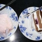 いしむら - 料理写真:あまおう苺のモンブランとブルーベリーのショートケーキ
