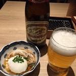 海鮮串天ぷら 中野家 - お通しは温玉ソーメン324円