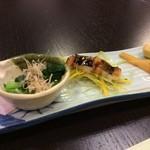 料亭 恵の本 - 前菜三点(小松菜、はかりめ【江戸前穴子】、鹿児島より筍)