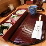 45741910 - 大将おまかせ定食(写真のおかず+ご飯+味噌汁+茶碗蒸し+漬物