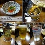 45744372 - お通し/ひれ酒¥750/生ビール¥630/チューハイ¥450