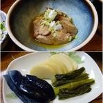 45744389 - コースの鶏のうま煮とお漬物