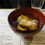 山猫軒 - スッポンのお椀は、酒やショウガは入れずに、水と醤油しか加えていないとか・・・このあと唐揚げも出ました。