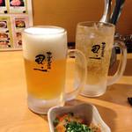 ホルモン酒場風土 - ビールとジンジャーエール、お通し300円