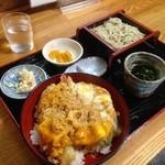 安曇 - 料理写真:天とじ丼+ミニざる蕎麦♪