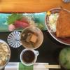 かとう - 料理写真:鯵フライと刺身三点盛(ランチ)