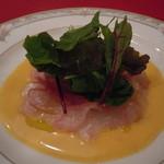 コションローズ - ティ゙ナ)鯛カルパッチョ:柑橘ベースのソース