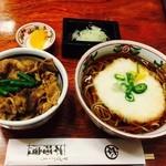神田 本陣房 - 本日のまかない丼と手打ちそば「焼肉丼と山かけ蕎麦」