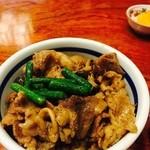 神田 本陣房 - 「本日のまかない丼と手打ちそば」の焼肉丼