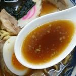 大盛軒 - 醤油ラーメンスープ。