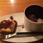 枝魯枝魯ひとしな - 日本酒のプリンと洋梨のジェラート