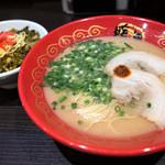 45790764 - ランチセット「C ラーメン+ミニチャーシュー高菜丼」(730円)。