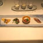 東郷 - 前菜 (海老芋タラモサラダ 揚げ雲吞添え、猪のタンドリー、長芋と菊の酢の物、〆鯖の寿し)