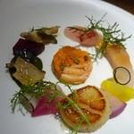 45796704 - セイコ蟹                       蒸し鮑                       アラのカルパッチョ                       ツブ貝のボルケッタ                       青森の鰤                       帆立のソテー