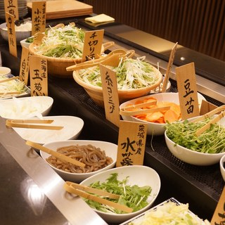 常時20種の新鮮野菜をビュッフェにて選ぶ楽しさ♪