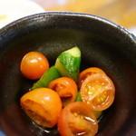 咲咲亭 - 小鉢(手延べヒレかつ定食)