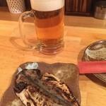 45814836 - 生ビール500円、お通しのアジの開き300円+税