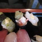寿司竹 - 白エビ昆布〆、カニみそ、白エビ