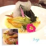 トリスケル - ✨白身魚 花ズッキーニのファルスこバプール フヌイヌのソース✨.̩₊̣.̩✧*̣̩˚̣̣⁺̣‧.₊̣̇.‧⁺̣˚̣̣*̣̩⋆̩·̩̩.̩̥·̩̩⋆̩*̣̩˚̣̣⁺̣‧.₊̣̇.‧⁺̣˚̣̣*̣̩✧·.̩₊̣.̩‧