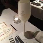 45846184 - 面白いグラス!                       ロゼで乾杯!