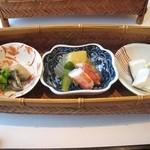 もり崎 - かご(季節の前菜三点盛り)