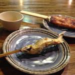 桧茶屋 - 五平餅と鮎の塩焼き