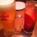 RAINBOW CAFE&WINE DINING - ビール&カシスソーダ