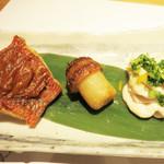 和食 たかもと - きんきの味噌焼き・きのこの山・たらの白子。                             どれも上質な食材をアレンジしたものです。                             きんきプリプリ~♪たらの白子も大好物です。