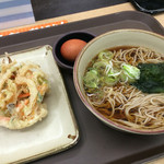 中井麺宿 - かけそば、野菜かき揚げ、生タマゴ