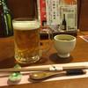 YAMATO - ドリンク写真:速達生ビール500円とお通しの冷製茶碗蒸し